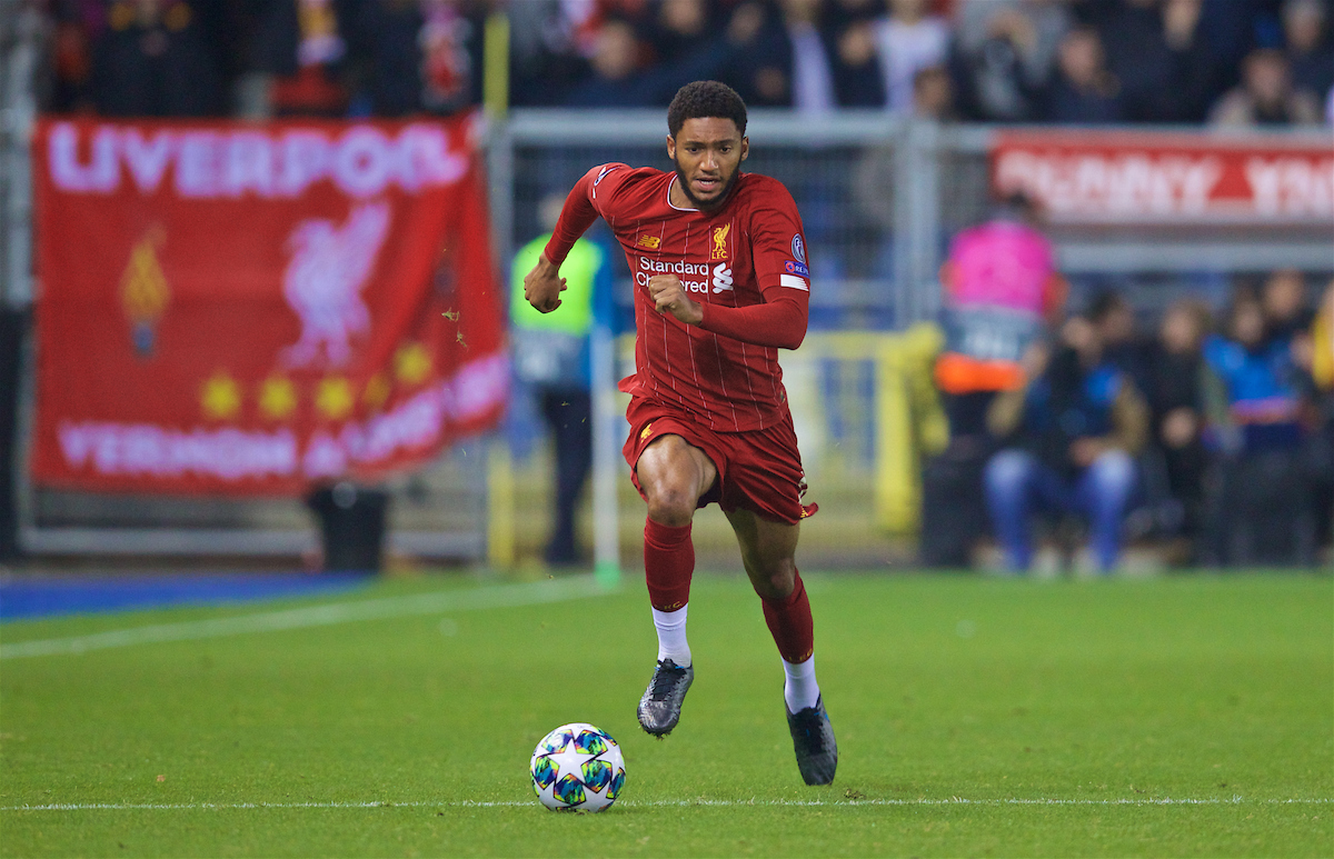 GENK, BELGIUM - Wednesday, October 23, 2019: Liverpool's substitute Joe Gomez during the UEFA Champions League Group E match between KRC Genk and Liverpool FC at the KRC Genk Arena. (Pic by David Rawcliffe/Propaganda)