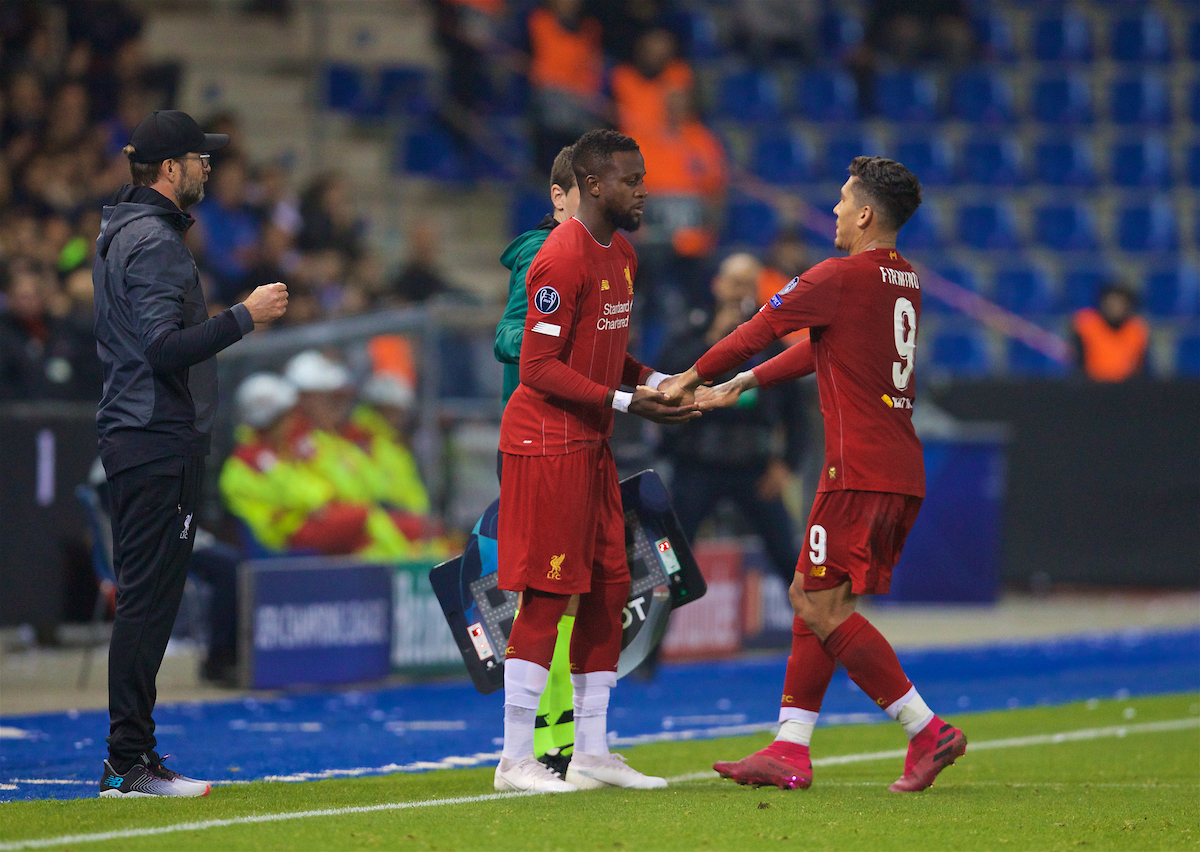 GENK, BELGIUM - Wednesday, October 23, 2019: Liverpool's substitute Divock Origi replaces Roberto Firmino during the UEFA Champions League Group E match between KRC Genk and Liverpool FC at the KRC Genk Arena. (Pic by David Rawcliffe/Propaganda)