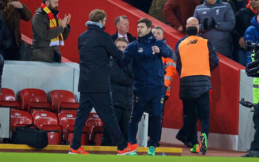 LIVERPOOL, ENGLAND - Saturday, February 11, 2017: Liverpool's manager Jürgen Klopp and Tottenham Hotspur's manager Mauricio Pochettino after the FA Premier League match at Anfield. (Pic by David Rawcliffe/Propaganda)