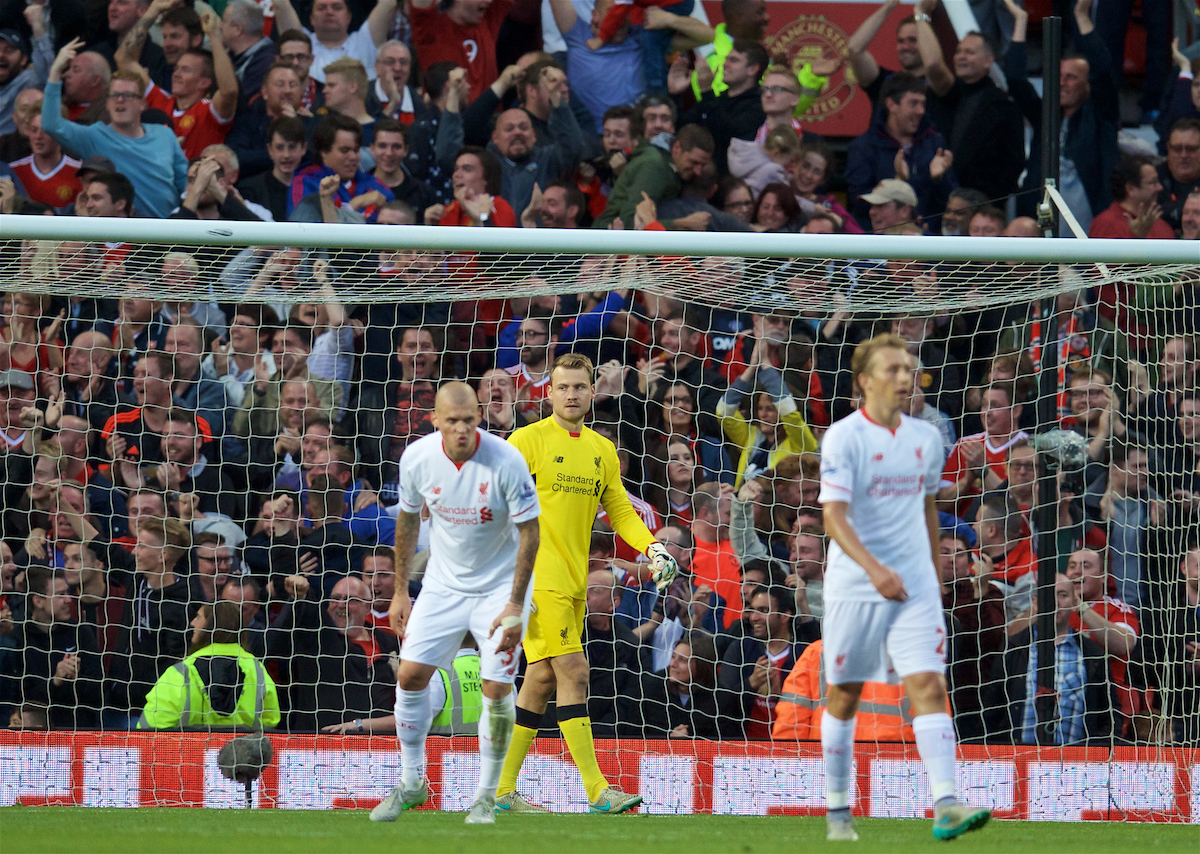 MANCHESTER, ENGLAND - Saturday, September 12, 2015: Liverpool's goalkeeper Simon Mignolet looks dejected as Manchester United score the third goal during the Premier League match at Old Trafford. (Pic by David Rawcliffe/Propaganda)