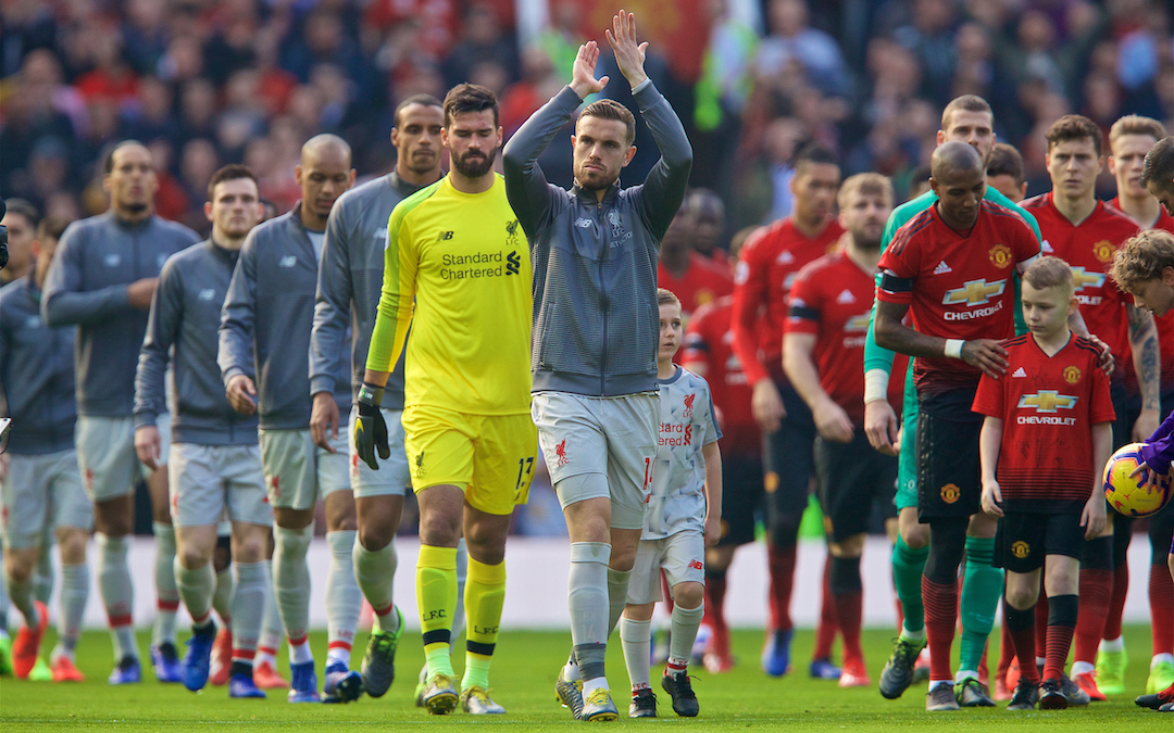 MANCHESTER, ENGLAND - Sunday, February 24, 2019: Liverpool's captain Jordan Henderson leads his team out before the FA Premier League match between Manchester United FC and Liverpool FC at Old Trafford. (Pic by David Rawcliffe/Propaganda)