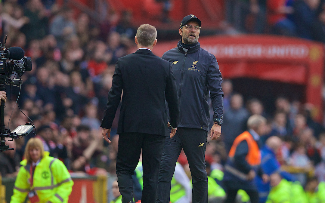MANCHESTER, ENGLAND - Sunday, February 24, 2019: Liverpool's manager Jürgen Klopp goes to shake hands with Manchester United's manager Ole Gunnar Solskjær (Solskjaer) after the FA Premier League match between Manchester United FC and Liverpool FC at Old Trafford. The game ended in a 0-0 draw. (Pic by David Rawcliffe/Propaganda)