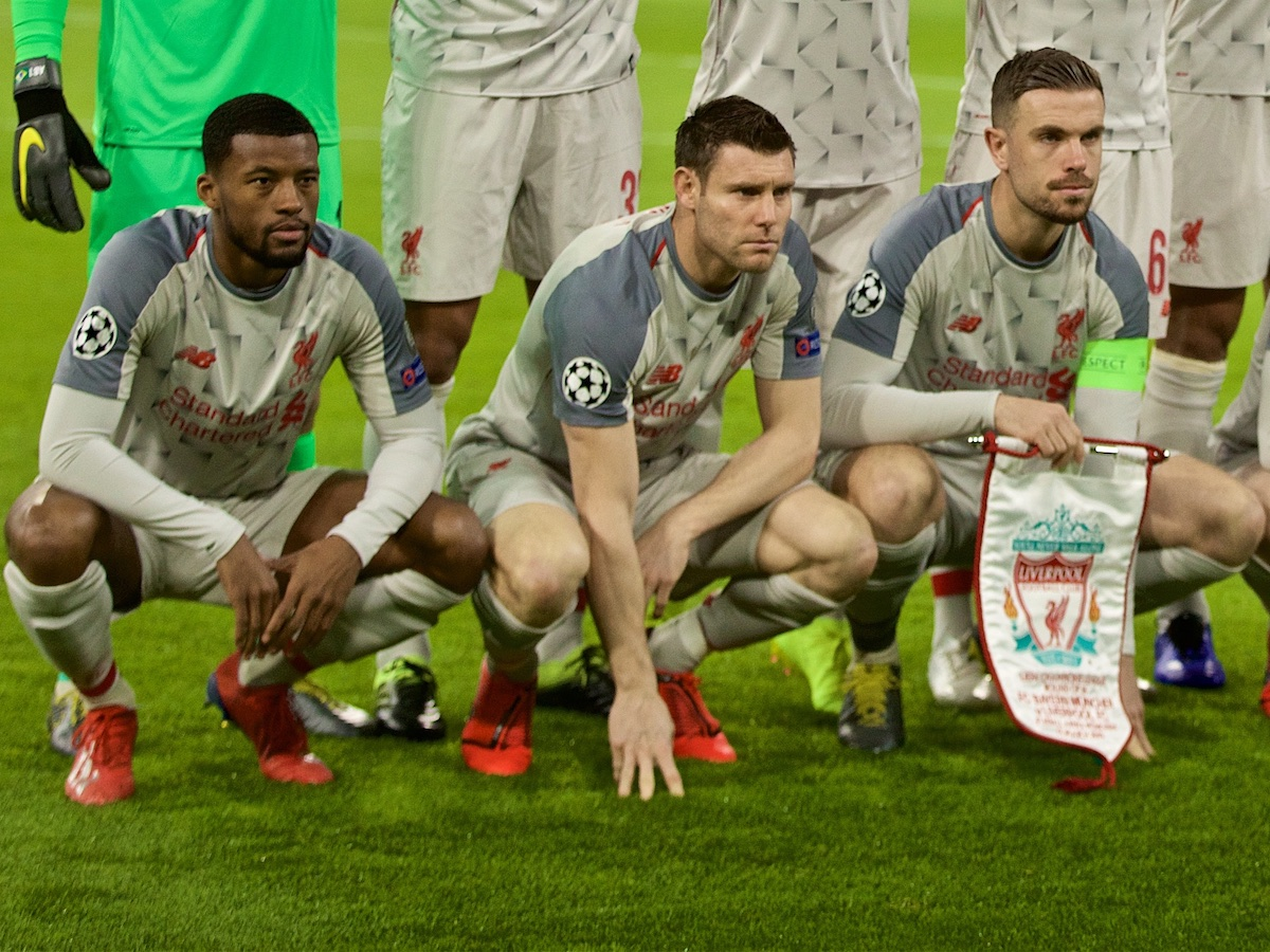 MUNICH, GERMANY - Wednesday, March 13, 2019: Liverpool's players line-up for a team group photograph before the UEFA Champions League Round of 16 2nd Leg match between FC Bayern München and Liverpool FC at the Allianz Arena. Back row L-R: : goalkeeper Alisson Becker, Joel Matip, Roberto Firmino, Trent Alexander-Arnold, Virgil van Dijk, Mohamed Salah. Front row L-R: Georginio Wijnaldum, James Milner, captain Jordan Henderson, Andy Robertson, Said Mane. (Pic by David Rawcliffe/Propaganda)