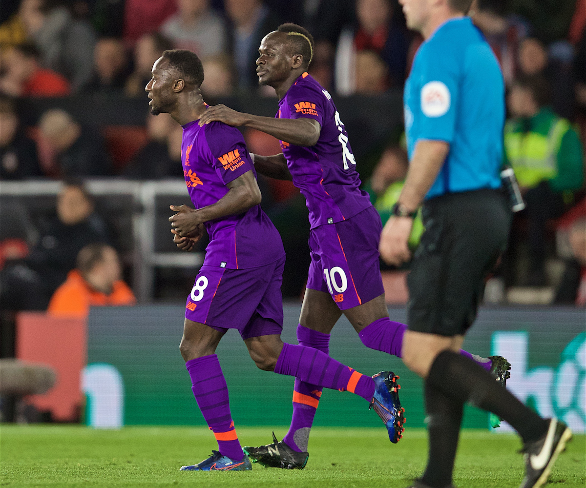 SOUTHAMPTON, ENGLAND - Friday, April 5, 2019: Liverpool's Naby Keita celebrates scoring the first equalising goal with team-mate Sadio Mane during the FA Premier League match between Southampton FC and Liverpool FC at the St. Mary's Stadium. (Pic by David Rawcliffe/Propaganda)