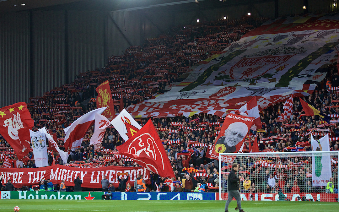 Tuesday, May 7, 2019: Liverpool supporters on the Spion Kop before the UEFA Champions League Semi-Final 2nd Leg match between Liverpool FC and FC Barcelona at Anfield.
