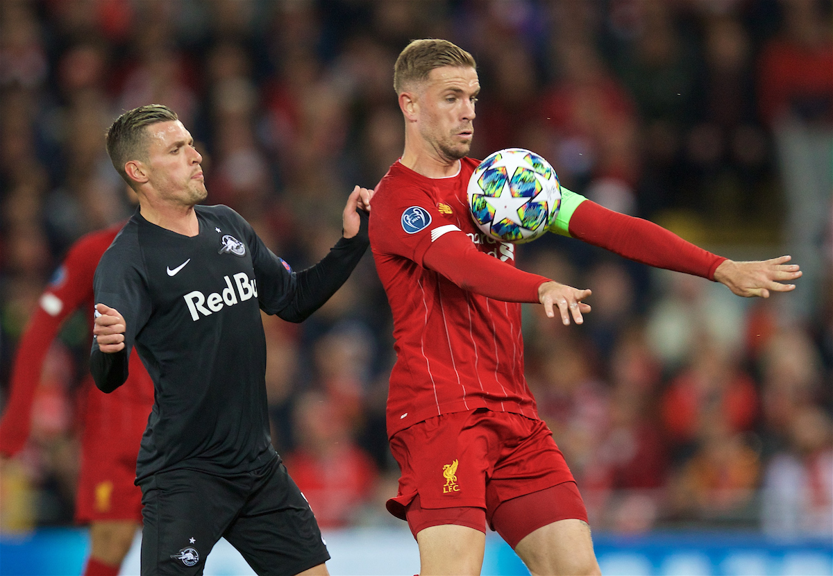 LIVERPOOL, ENGLAND - Wednesday, October 2, 2019: Liverpool's captain Jordan Henderson during the UEFA Champions League Group E match between Liverpool FC and FC Salzburg at Anfield. (Pic by David Rawcliffe/Propaganda)
