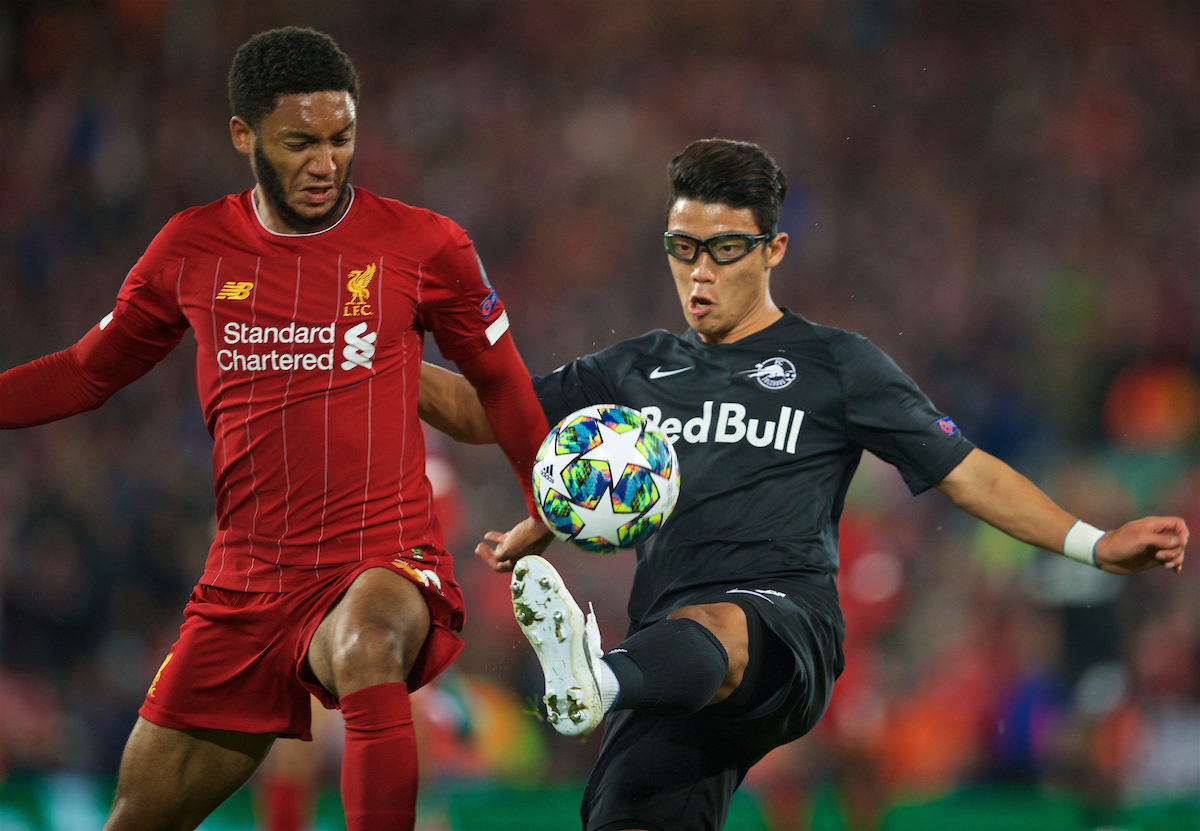 LIVERPOOL, ENGLAND - Wednesday, October 2, 2019: Liverpool's Joe Gomez (L) and FC Salzburg's Hee-Chan Hwang during the UEFA Champions League Group E match between Liverpool FC and FC Salzburg at Anfield. (Pic by David Rawcliffe/Propaganda)