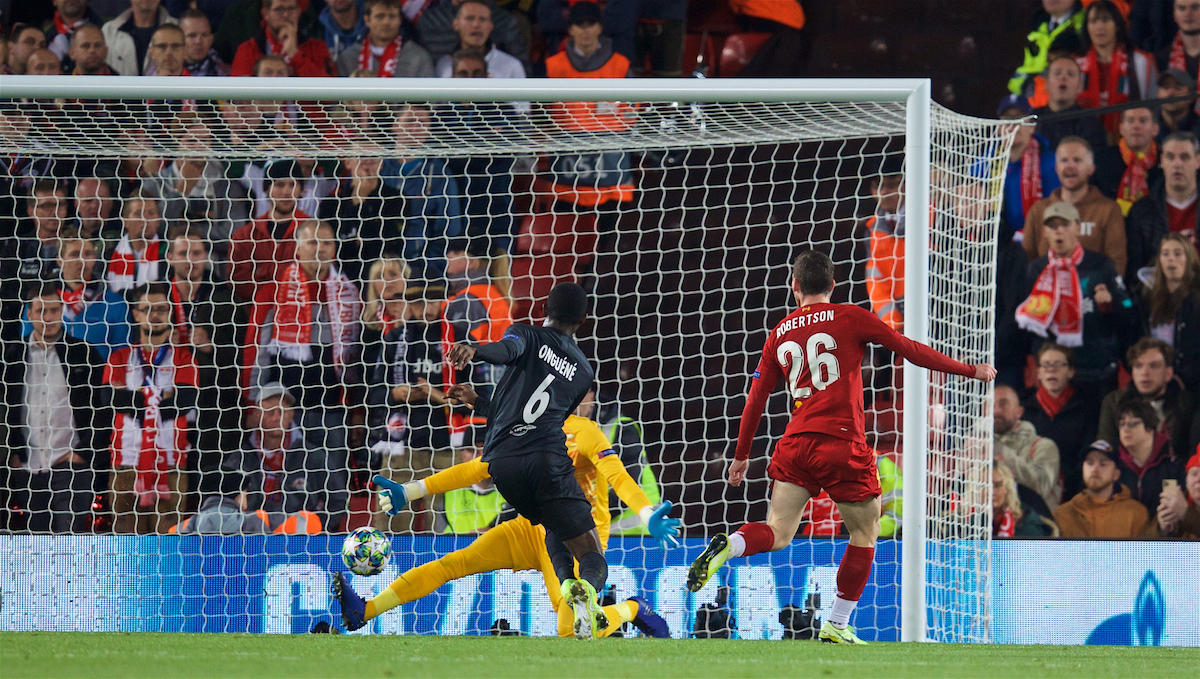 LIVERPOOL, ENGLAND - Wednesday, October 2, 2019: Liverpool's Andy Robertson scores the second goal during the UEFA Champions League Group E match between Liverpool FC and FC Salzburg at Anfield. (Pic by David Rawcliffe/Propaganda)