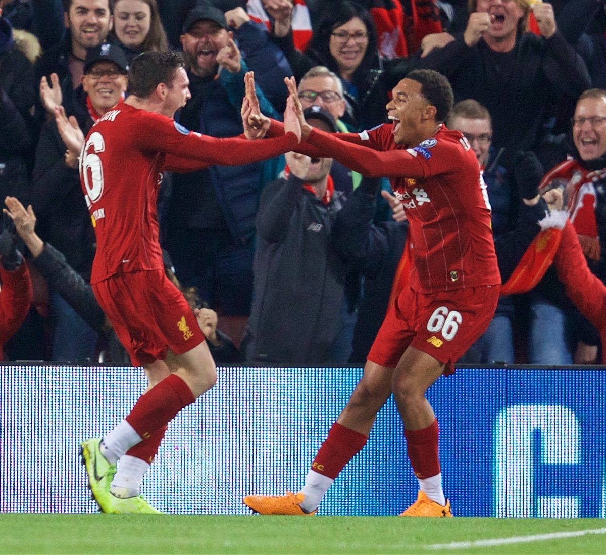 LIVERPOOL, ENGLAND - Wednesday, October 2, 2019: Liverpool's Andy Robertson (L) celebrates scoring the second goal with team-mate Trent Alexander-Arnold during the UEFA Champions League Group E match between Liverpool FC and FC Salzburg at Anfield. (Pic by David Rawcliffe/Propaganda)