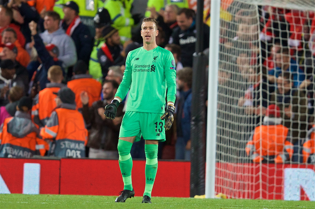 LIVERPOOL, ENGLAND - Wednesday, October 2, 2019: Liverpool's goalkeeper Adrián San Miguel del Castillo looks dejected as FC Salzburg score a third goal to equalise and level the score at 3-3 during the UEFA Champions League Group E match between Liverpool FC and FC Salzburg at Anfield. (Pic by David Rawcliffe/Propaganda)