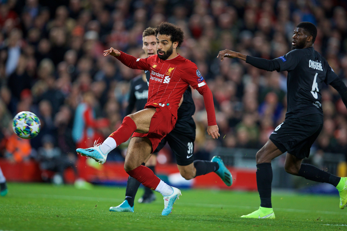 LIVERPOOL, ENGLAND - Wednesday, October 2, 2019: Liverpool's Mohamed Salah scores the fourth goal during the UEFA Champions League Group E match between Liverpool FC and FC Salzburg at Anfield. (Pic by David Rawcliffe/Propaganda)
