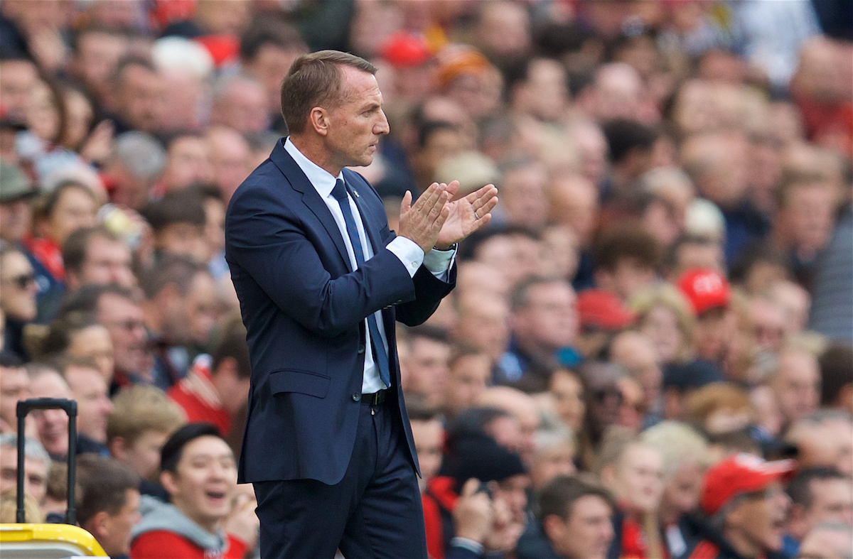 LIVERPOOL, ENGLAND - Saturday, October 5, 2019: Leicester City's manager Brendan Rodgers during the FA Premier League match between Liverpool FC and Leicester City FC at Anfield. (Pic by David Rawcliffe/Propaganda)
