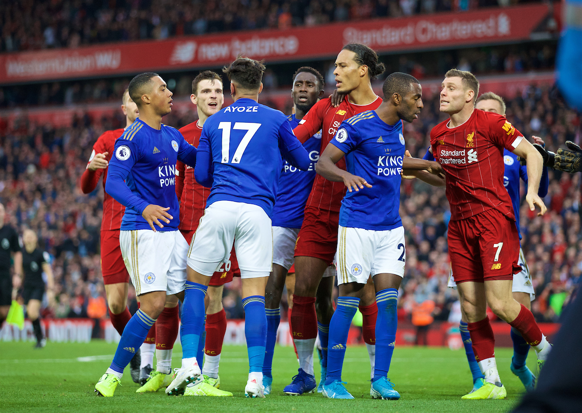 LIVERPOOL, ENGLAND - Saturday, October 5, 2019: Leicester City's Ayoze Pérez clashes with Liverpool's Andy Robertson and Virgil van Dijk at the final whistle during the FA Premier League match between Liverpool FC and Leicester City FC at Anfield. Liverpool won 2-1. (Pic by David Rawcliffe/Propaganda)