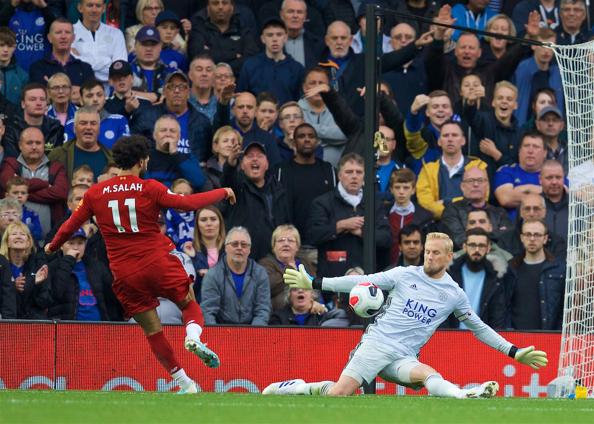 LIVERPOOL, ENGLAND - Saturday, October 5, 2019: Leicester City's goalkeeper Kasper Schmeichel makes a save from Liverpool's Mohamed Salah during the FA Premier League match between Liverpool FC and Leicester City FC at Anfield. (Pic by David Rawcliffe/Propaganda)
