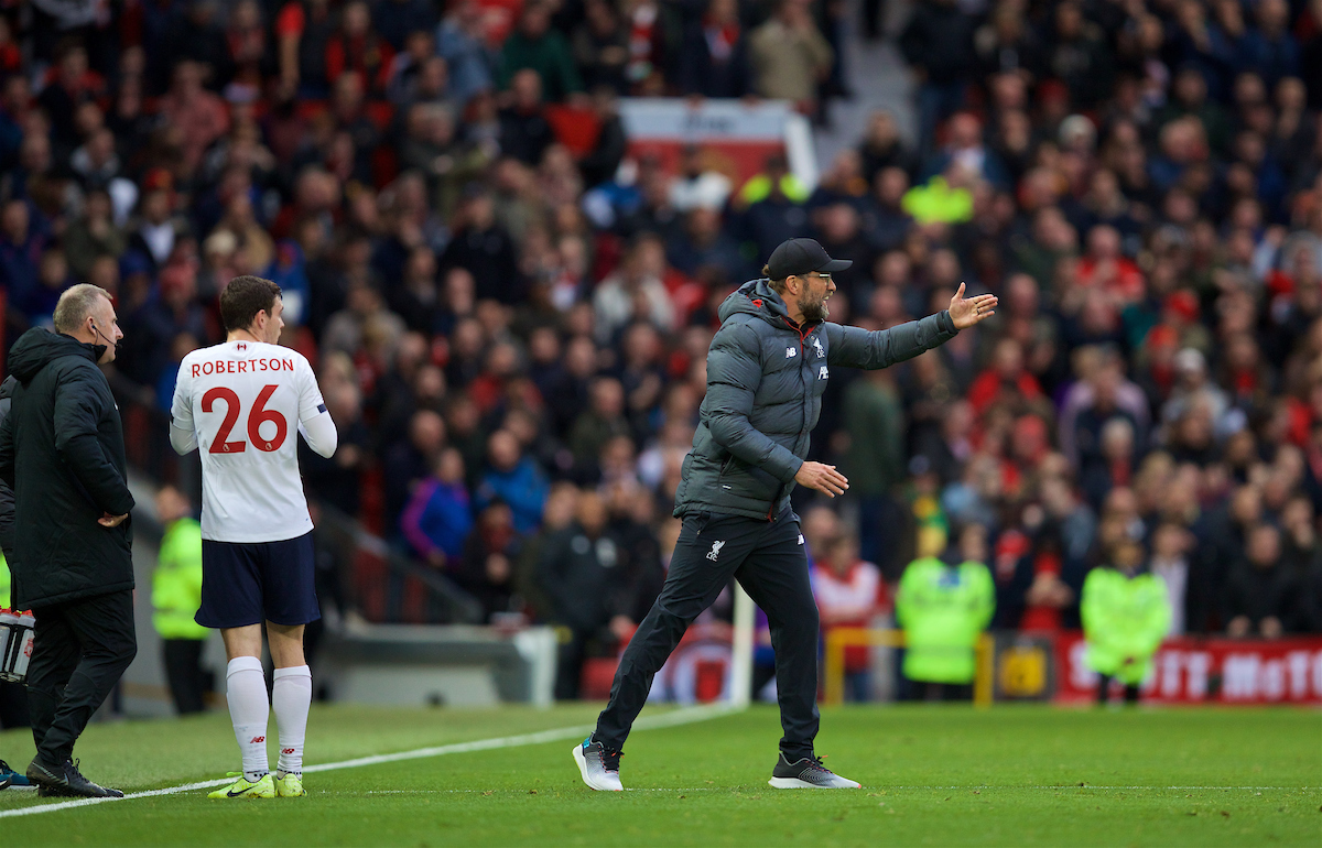 MANCHESTER, ENGLAND - Saturday, October 19, 2019: Liverpool's manager Jürgen Klopp reacts after Manchester United's opening goal during the FA Premier League match between Manchester United FC and Liverpool FC at Old Trafford. (Pic by David Rawcliffe/Propaganda)