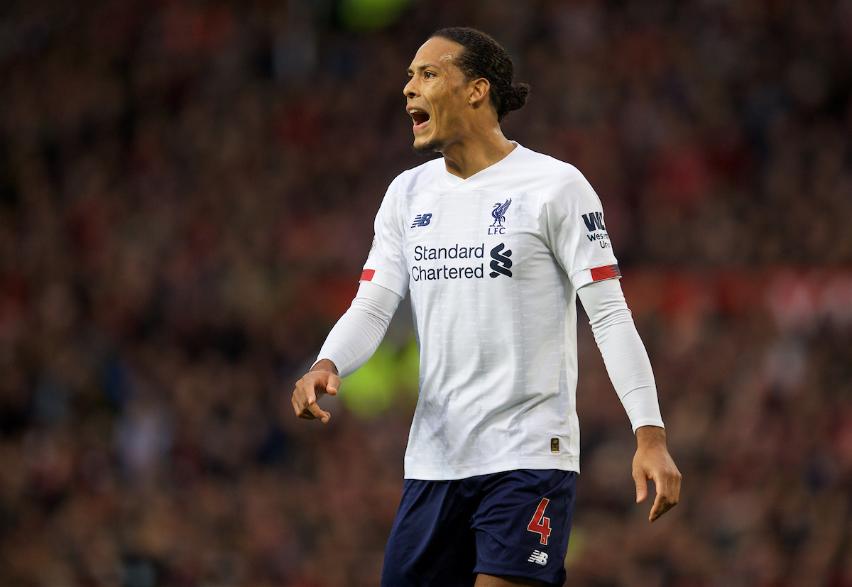 MANCHESTER, ENGLAND - Saturday, October 19, 2019: Liverpool's Virgil van Dijk during the FA Premier League match between Manchester United FC and Liverpool FC at Old Trafford. (Pic by David Rawcliffe/Propaganda)