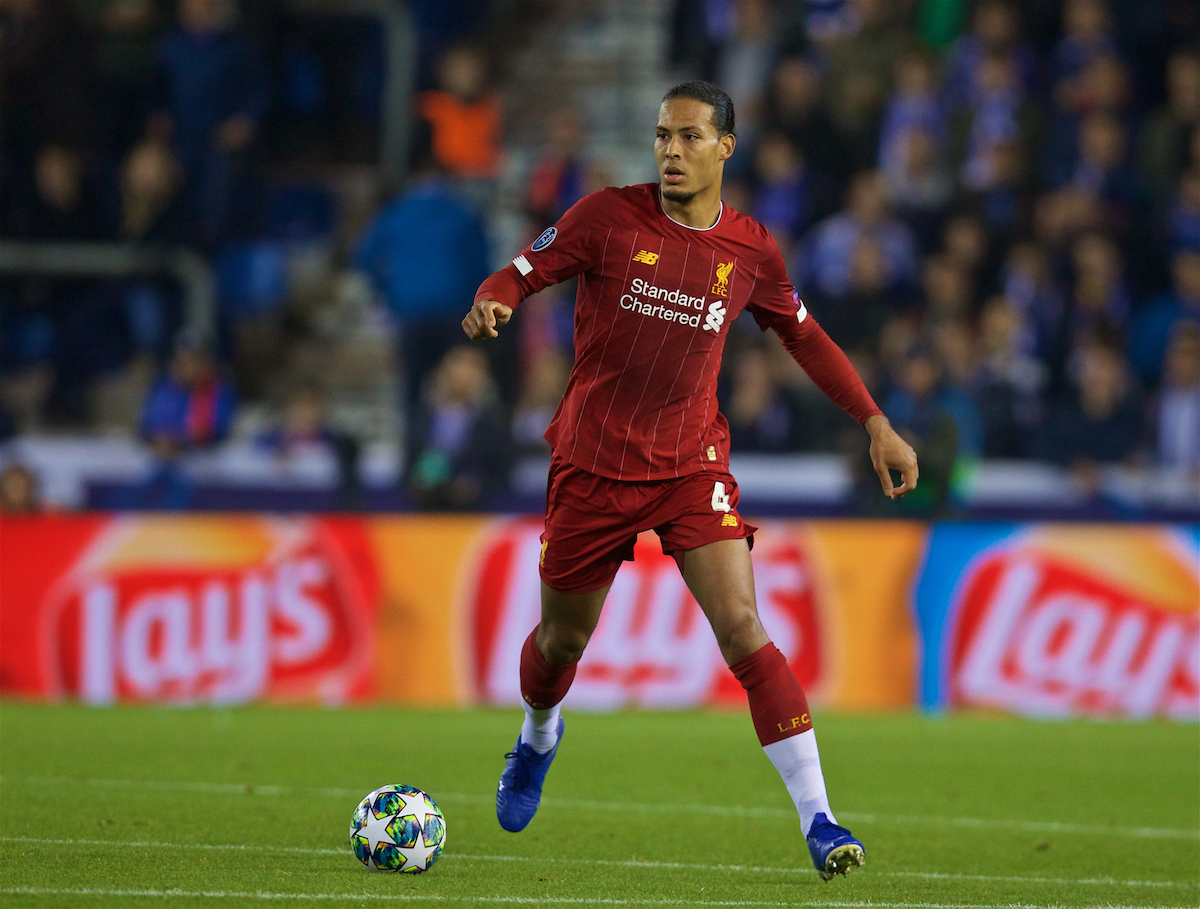 GENK, BELGIUM - Wednesday, October 23, 2019: Liverpool's Virgil van Dijk during the UEFA Champions League Group E match between KRC Genk and Liverpool FC at the KRC Genk Arena. (Pic by David Rawcliffe/Propaganda)