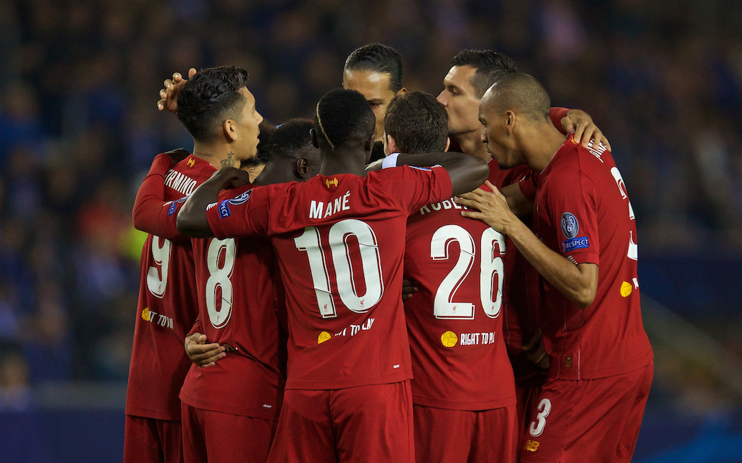 GENK, BELGIUM - Wednesday, October 23, 2019: Liverpool players celebrate with Alex Oxlade-Chamberlain after he scored the opening goal during the UEFA Champions League Group E match between KRC Genk and Liverpool FC at the KRC Genk Arena. (Pic by David Rawcliffe/Propaganda)