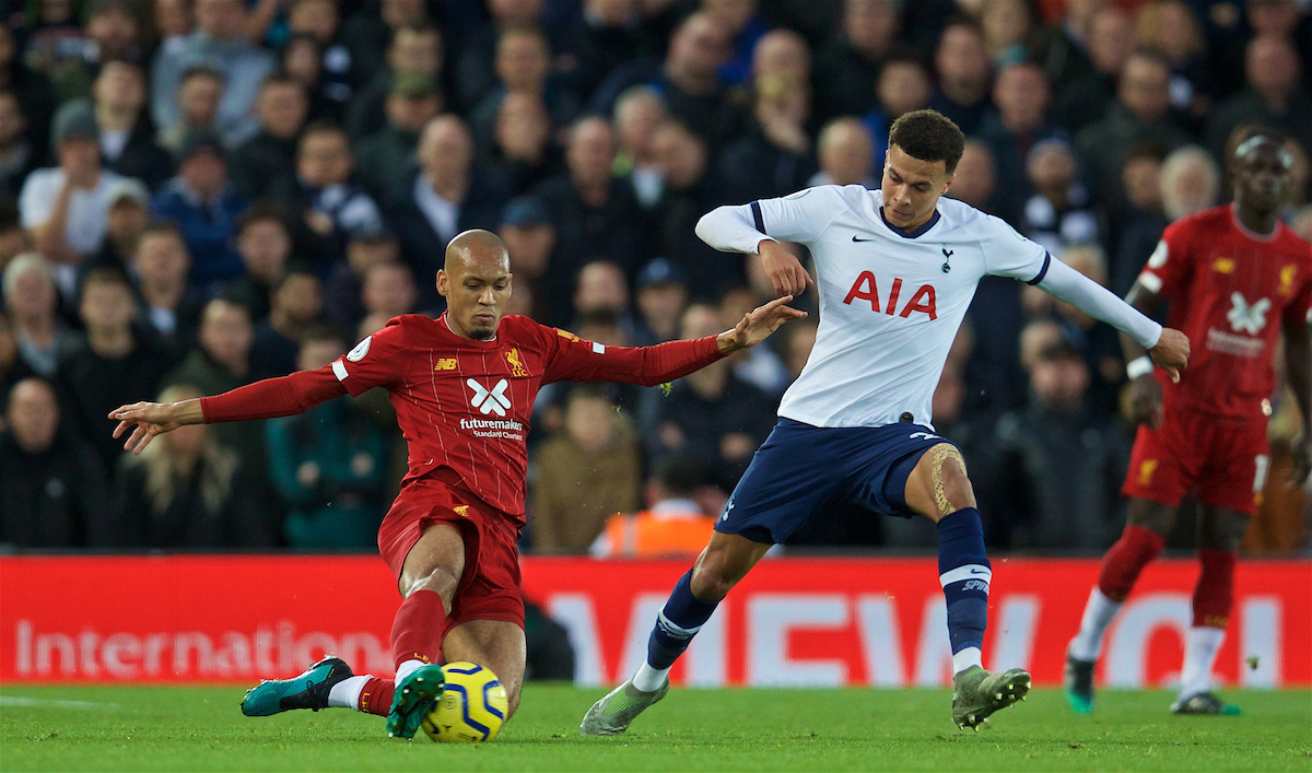 LIVERPOOL, ENGLAND - Sunday, October 27, 2019: Liverpool's Fabio Henrique Tavares 'Fabinho' (L) and Tottenham Hotspur's Dele Alli during the FA Premier League match between Liverpool FC and Tottenham Hotspur FC at Anfield. (Pic by David Rawcliffe/Propaganda)