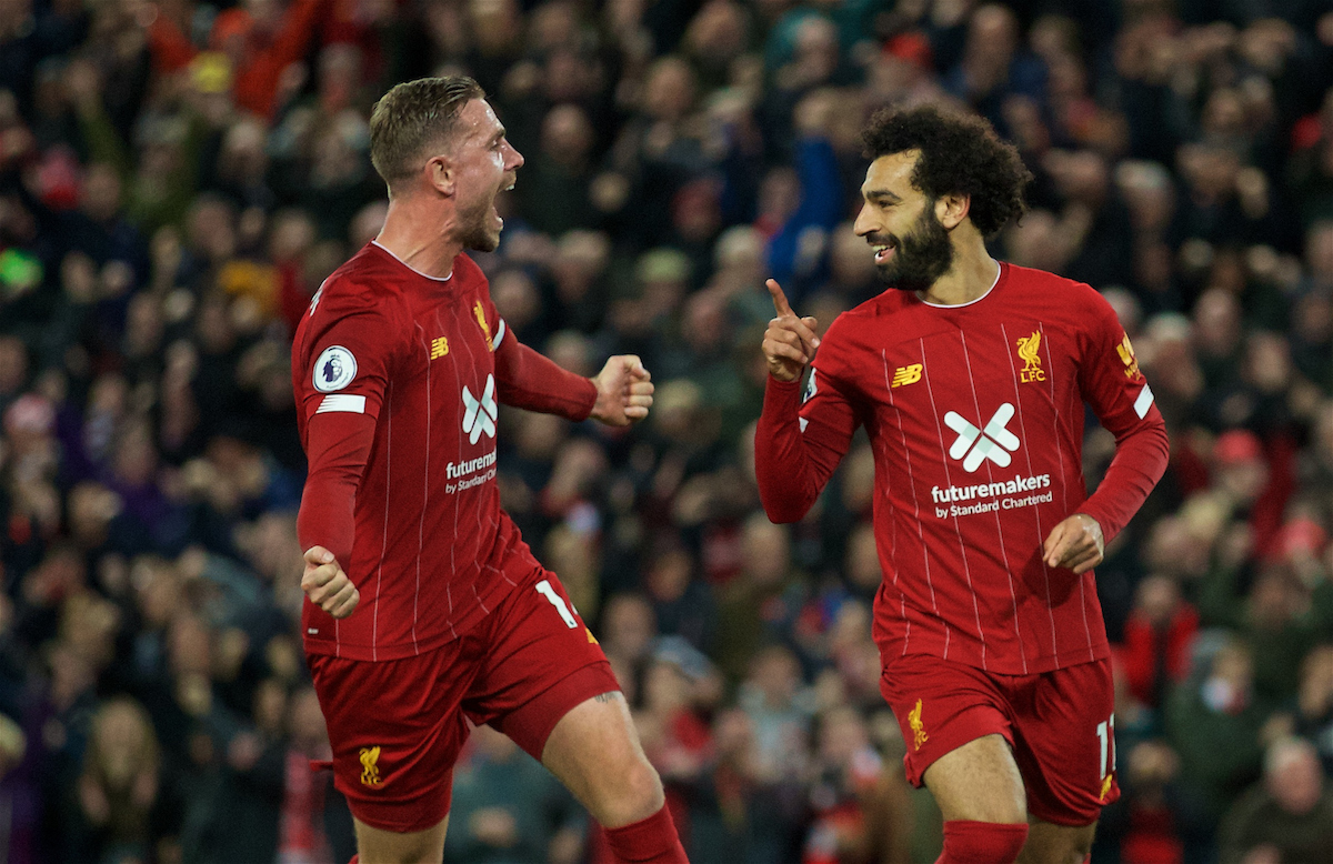 LIVERPOOL, ENGLAND - Sunday, October 27, 2019: Liverpool's Mohamed Salah (R) celebrates scoring the second goal, from a penalty kick, with team-mate captain Jordan Henderson during the FA Premier League match between Liverpool FC and Tottenham Hotspur FC at Anfield. (Pic by David Rawcliffe/Propaganda)