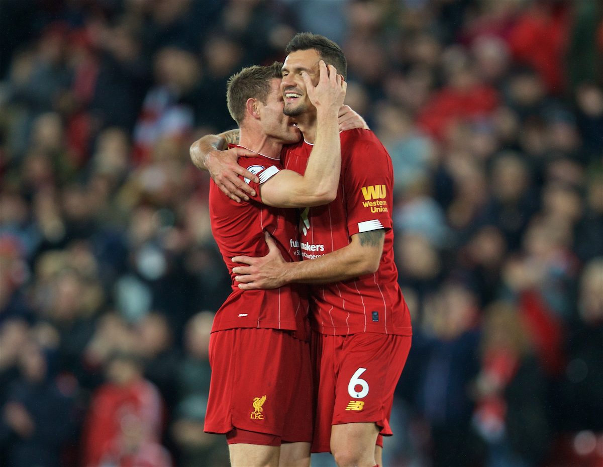 LIVERPOOL, ENGLAND - Sunday, October 27, 2019: Liverpool's James Milner (L) celebrates with Dejan Lovren at the final whistle during the FA Premier League match between Liverpool FC and Tottenham Hotspur FC at Anfield. Liverpool won 2-1. (Pic by David Rawcliffe/Propaganda)