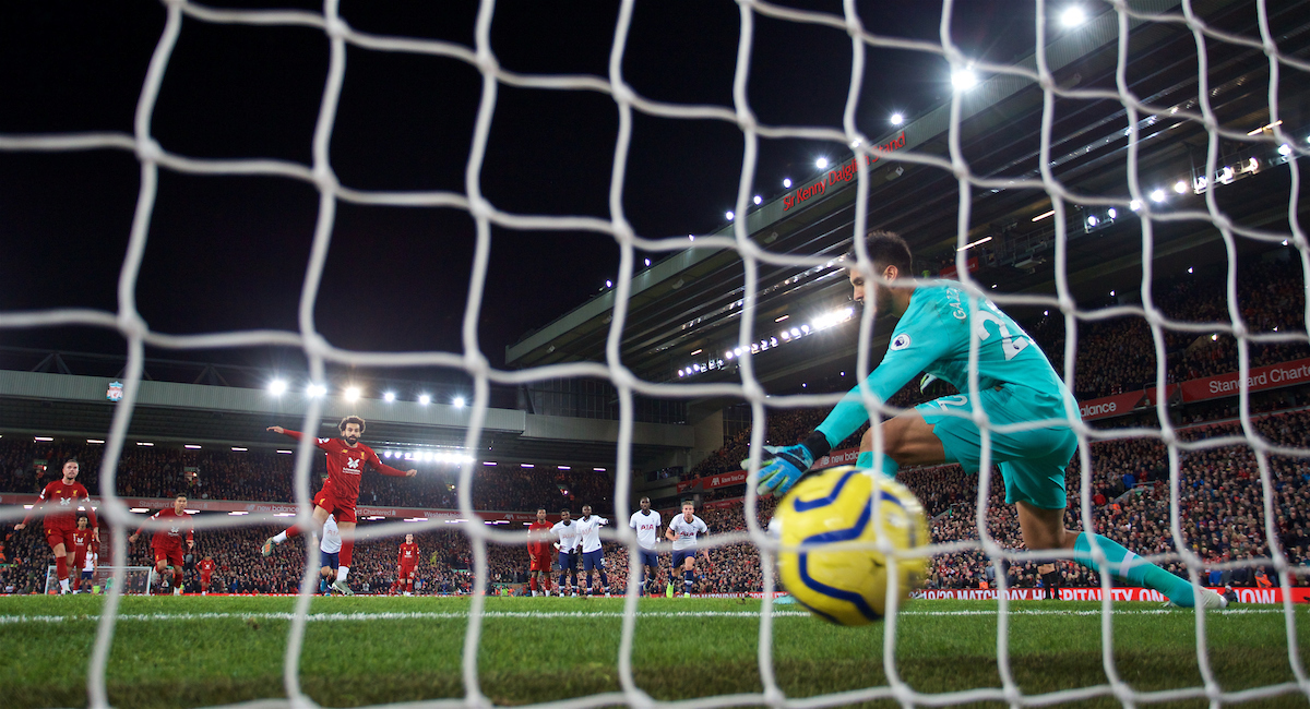 LIVERPOOL, ENGLAND - Sunday, October 27, 2019: Liverpool's Mohamed Salah scores the winning second goal from a penalty kick past Tottenham Hotspur's goalkeeper Paulo Gazzaniga during the FA Premier League match between Liverpool FC and Tottenham Hotspur FC at Anfield. Liverpool won 2-1. (Pic by David Rawcliffe/Propaganda)