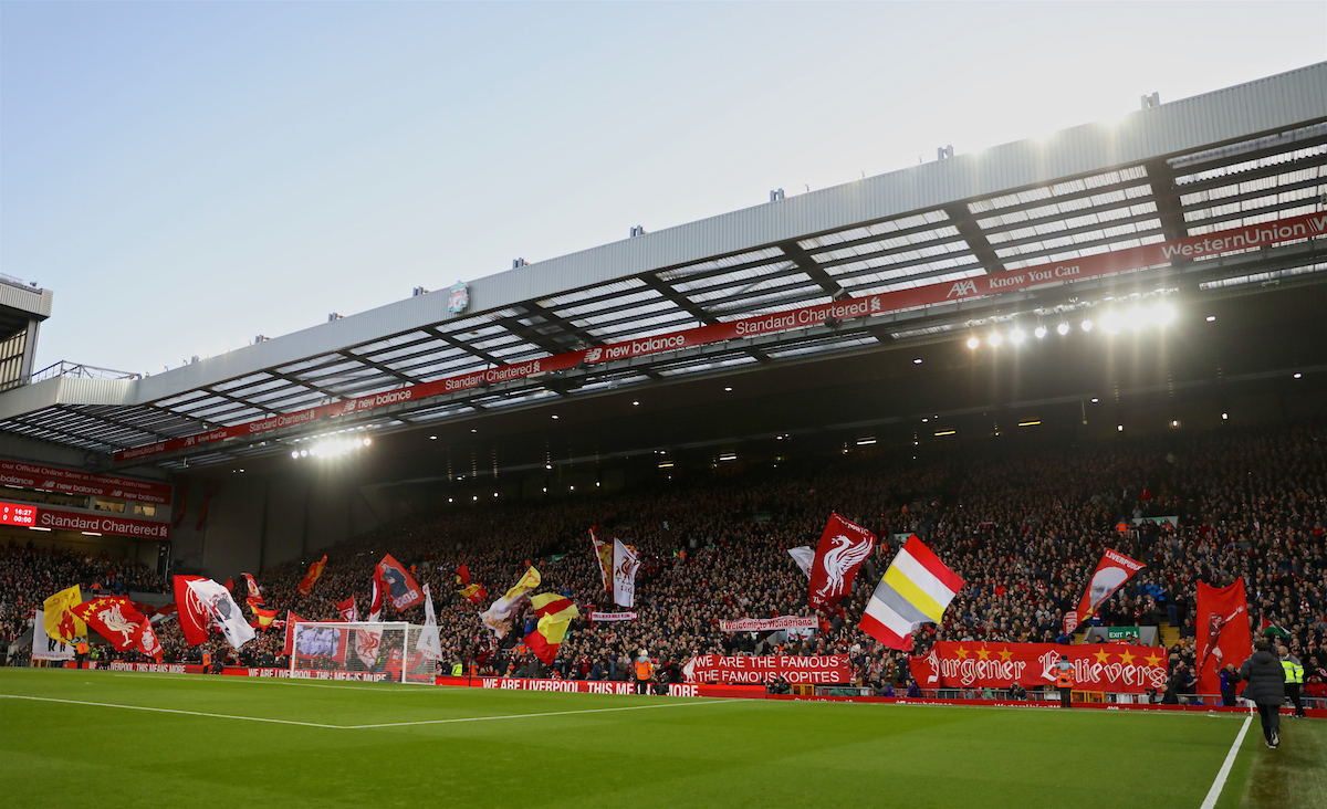 LIVERPOOL, ENGLAND - Sunday, October 27, 2019: Liverpool supporters on the Spion Kop before the FA Premier League match between Liverpool FC and Tottenham Hotspur FC at Anfield. (Pic by David Rawcliffe/Propaganda)