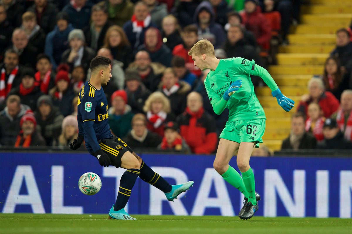 LIVERPOOL, ENGLAND - Wednesday, October 30, 2019: Liverpool's goalkeeper Caoimhin Kelleher and Arsenal's Gabriel Martinelli during the Football League Cup 4th Round match between Liverpool FC and Arsenal FC at Anfield. (Pic by David Rawcliffe/Propaganda)