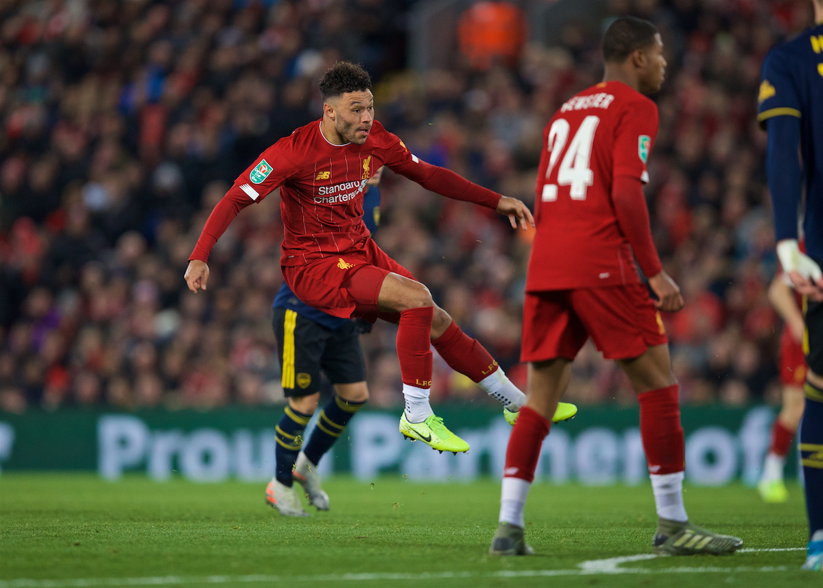 LIVERPOOL, ENGLAND - Wednesday, October 30, 2019: Liverpool's Alex Oxlade-Chamberlain scores the third goal during the Football League Cup 4th Round match between Liverpool FC and Arsenal FC at Anfield. (Pic by David Rawcliffe/Propaganda)
