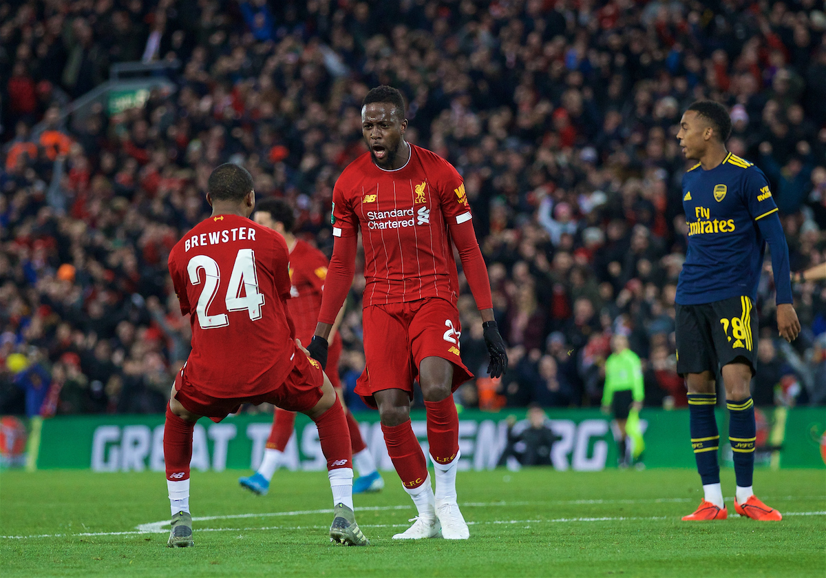 LIVERPOOL, ENGLAND - Wednesday, October 30, 2019: Liverpool's Divock Origi celebrates scoring the fourth goal, to level the score at 4-4, during the Football League Cup 4th Round match between Liverpool FC and Arsenal FC at Anfield. (Pic by David Rawcliffe/Propaganda)