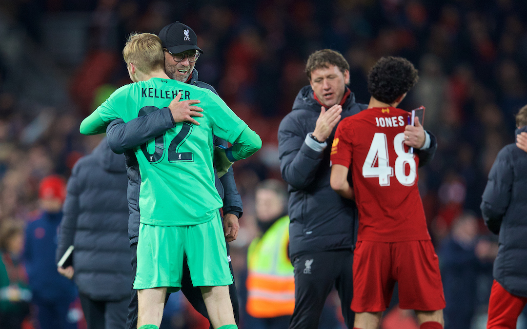 LIVERPOOL, ENGLAND - Wednesday, October 30, 2019: Liverpool's manager Jürgen Klopp celebrates with goalkeeper Caoimhin Kelleher after the Football League Cup 4th Round match between Liverpool FC and Arsenal FC at Anfield. Liverpool won 5-4 on penalties after a 5-5 draw. (Pic by David Rawcliffe/Propaganda)