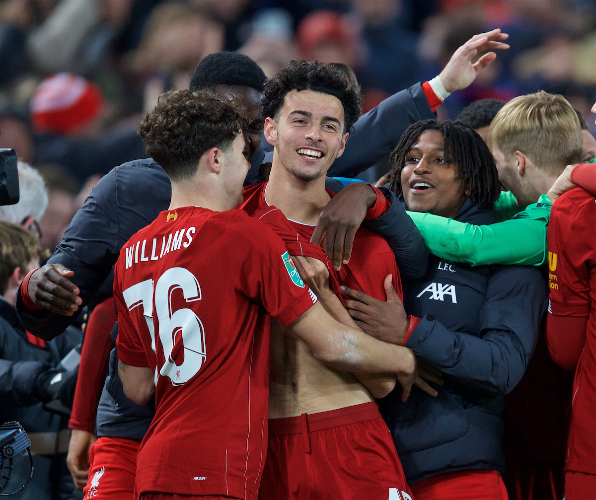 LIVERPOOL, ENGLAND - Wednesday, October 30, 2019: Liverpool's Curtis Jones (C) celebrates with team-mates after scoring the winning fifth penalty of the shoot out during the Football League Cup 4th Round match between Liverpool FC and Arsenal FC at Anfield. Liverpool won 5-4 on penalties after a 5-5 draw. (Pic by David Rawcliffe/Propaganda)