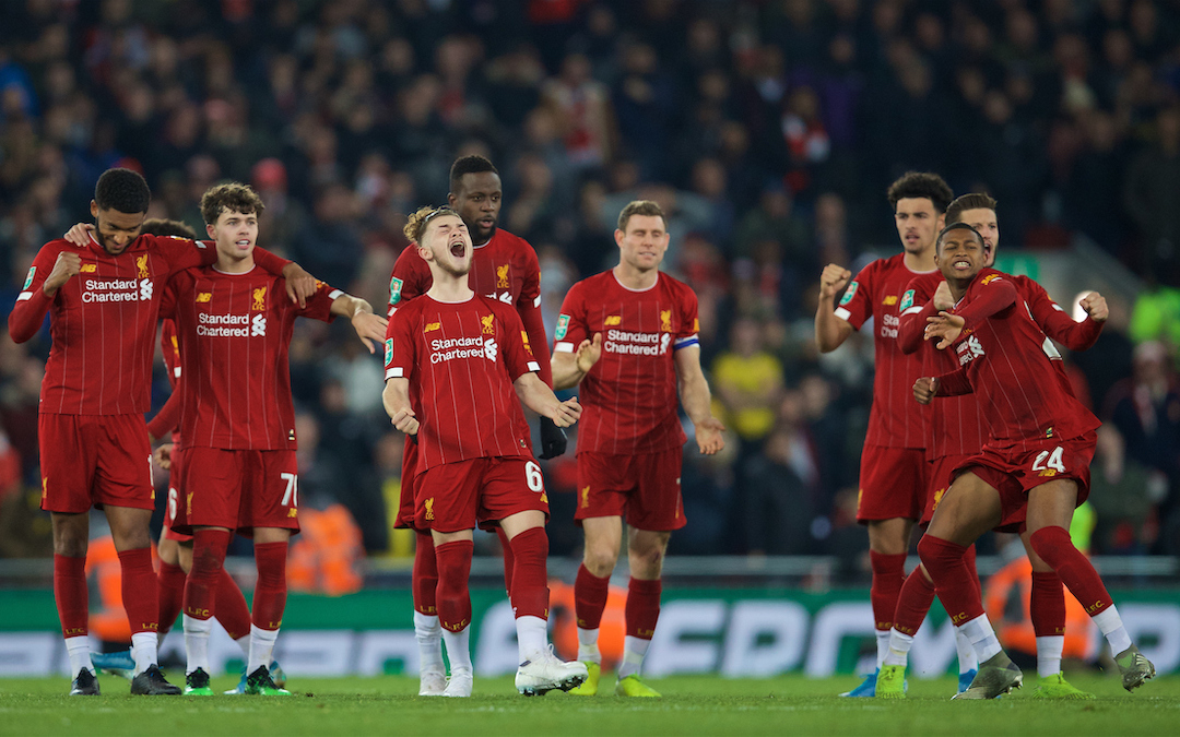 LIVERPOOL, ENGLAND - Wednesday, October 30, 2019: Liverpool players Joe Gomez, Neco Williams, Harvey Elliott, Divock Origi, James Milner, Curtis Jones and Rhian Brewster celebrate during the penalty shoot out after the Football League Cup 4th Round match between Liverpool FC and Arsenal FC at Anfield. Liverpool won 5-4 on penalties after a 5-5 draw. (Pic by David Rawcliffe/Propaganda)