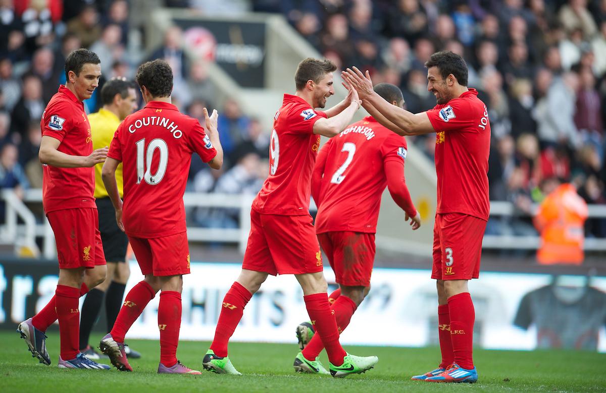 NEWCASTLE, ENGLAND - Saturday, April 27, 2013: Liverpool's Fabio Borini celebrates scoring the fifth goal against Newcastle United during the Premiership match at St James' Park. (Pic by David Rawcliffe/Propaganda)