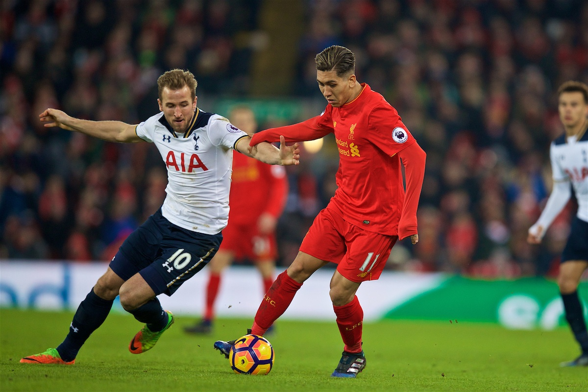 LIVERPOOL, ENGLAND - Saturday, February 11, 2017: Liverpool's Roberto Firmino in action against Tottenham Hotspur'ds Harry Kane during the FA Premier League match at Anfield. (Pic by David Rawcliffe/Propaganda)