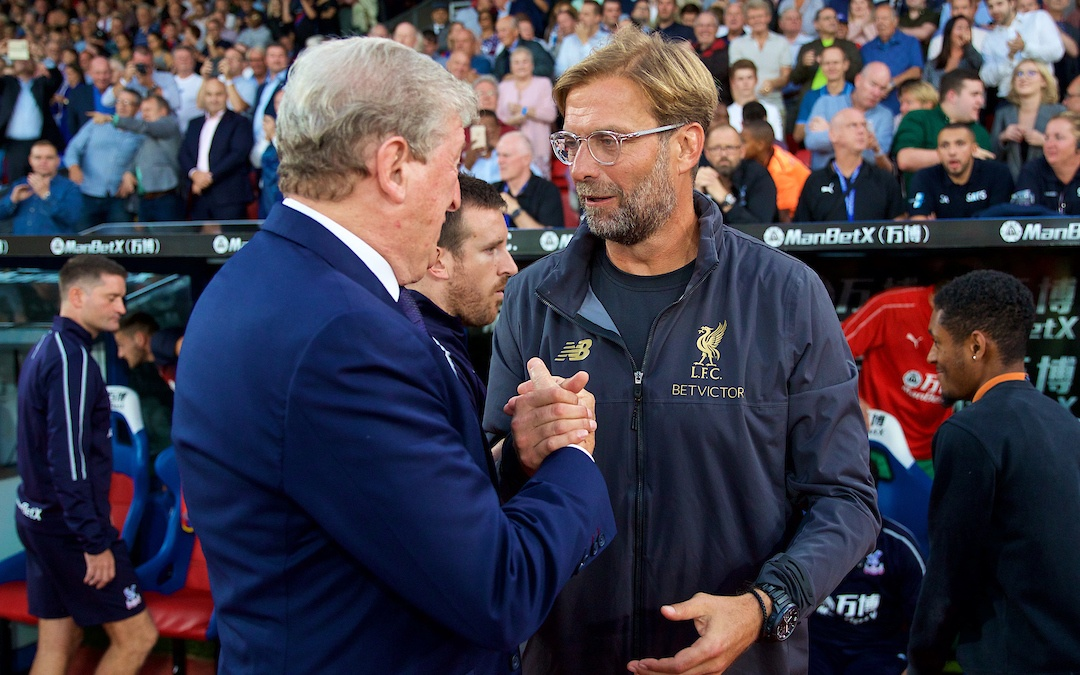 LONDON, ENGLAND - Monday, August 20, 2018: Crystal Palace's manager Roy Hodgson and manager Jürgen Klopp shake hands before the FA Premier League match between Crystal Palace and Liverpool FC at Selhurst Park. (Pic by David Rawcliffe/Propaganda)`