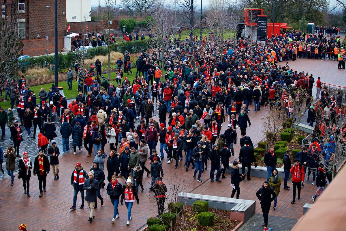 LIVERPOOL, ENGLAND - Sunday, December 16, 2018: Liverpool supporters walk to the ground along Avenue 96 before the FA Premier League match between Liverpool FC and Manchester United FC at Anfield. (Pic by David Rawcliffe/Propaganda)