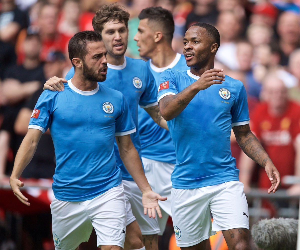 LONDON, ENGLAND - Sunday, August 4, 2019: Manchester City's Raheem Sterling celebrates scoring the first goal during the FA Community Shield match between Manchester City FC and Liverpool FC at Wembley Stadium. (Pic by David Rawcliffe/Propaganda)