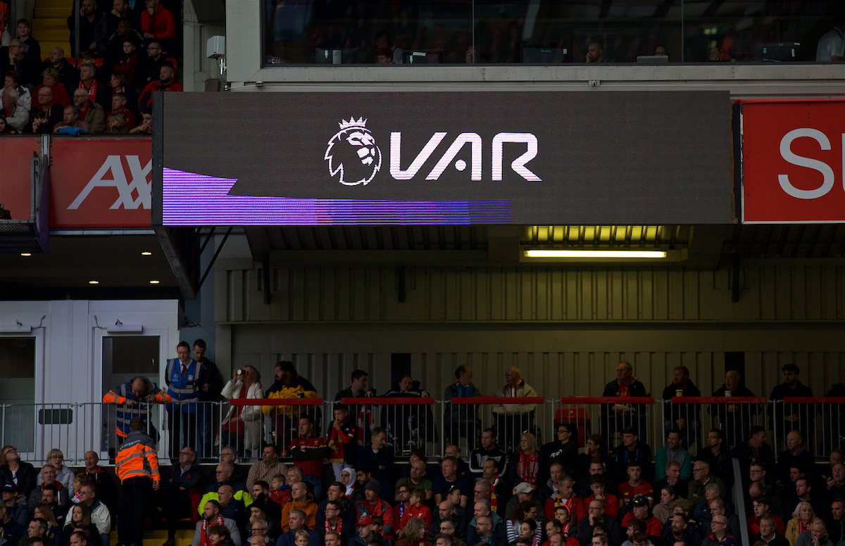 The scoreboard shows a VAR review logo during the FA Premier League match between Liverpool FC and Leicester City FC at Anfield.