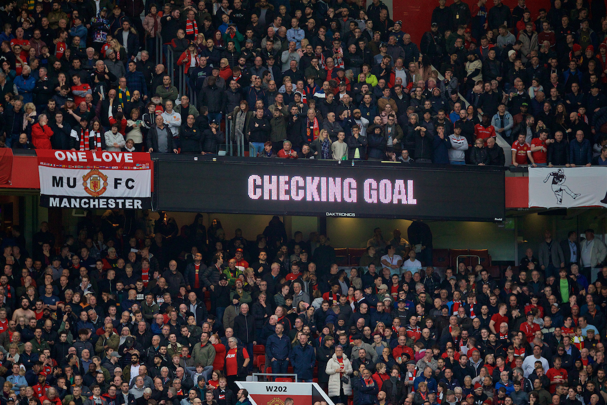 MANCHESTER, ENGLAND - Saturday, October 19, 2019: VAR checks the opening Manchester United goal during the FA Premier League match between Manchester United FC and Liverpool FC at Old Trafford. (Pic by David Rawcliffe/Propaganda)