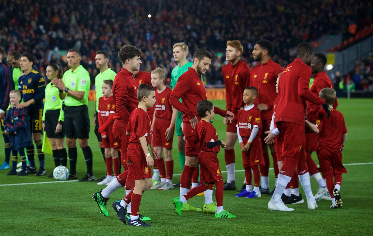 LIVERPOOL, ENGLAND - Wednesday, October 30, 2019: Liverpool's Neco Williams walks out to make his debut before the Football League Cup 4th Round match between Liverpool FC and Arsenal FC at Anfield. (Pic by David Rawcliffe/Propaganda)