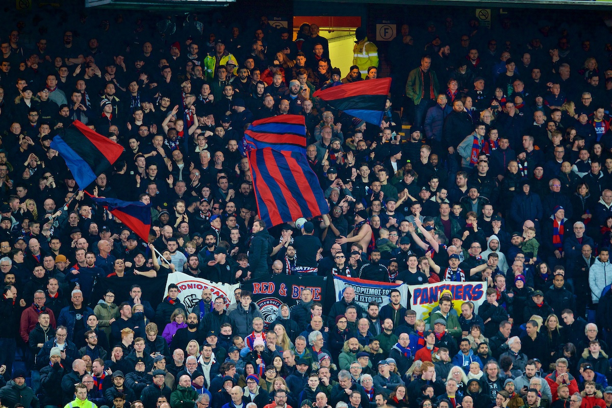 LONDON, ENGLAND - Saturday, November 23, 2019: Crystal Palace supporters during the FA Premier League match between Crystal Palace and Liverpool FC at Selhurst Park. (Pic by David Rawcliffe/Propaganda)