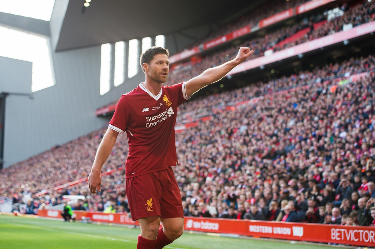 LIVERPOOL, ENGLAND - Saturday, March 24, 2018: Xabi Alonso of Liverpool Legends during the LFC Foundation charity match between Liverpool FC Legends and FC Bayern Munich Legends at Anfield. (Pic by Peter Powell/Propaganda)