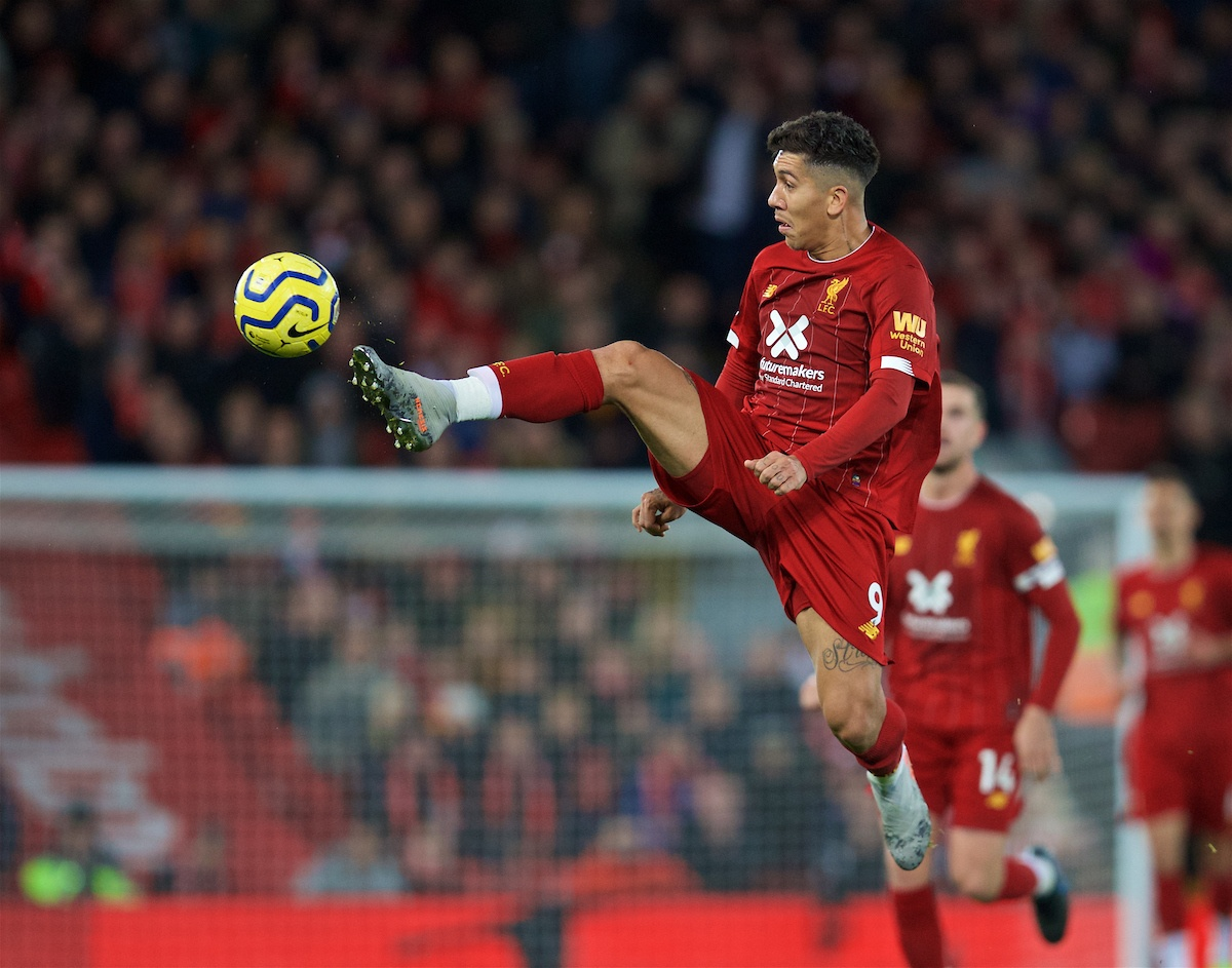 LIVERPOOL, ENGLAND - Sunday, October 27, 2019: Liverpool's Roberto Firmino during the FA Premier League match between Liverpool FC and Tottenham Hotspur FC at Anfield. (Pic by David Rawcliffe/Propaganda)