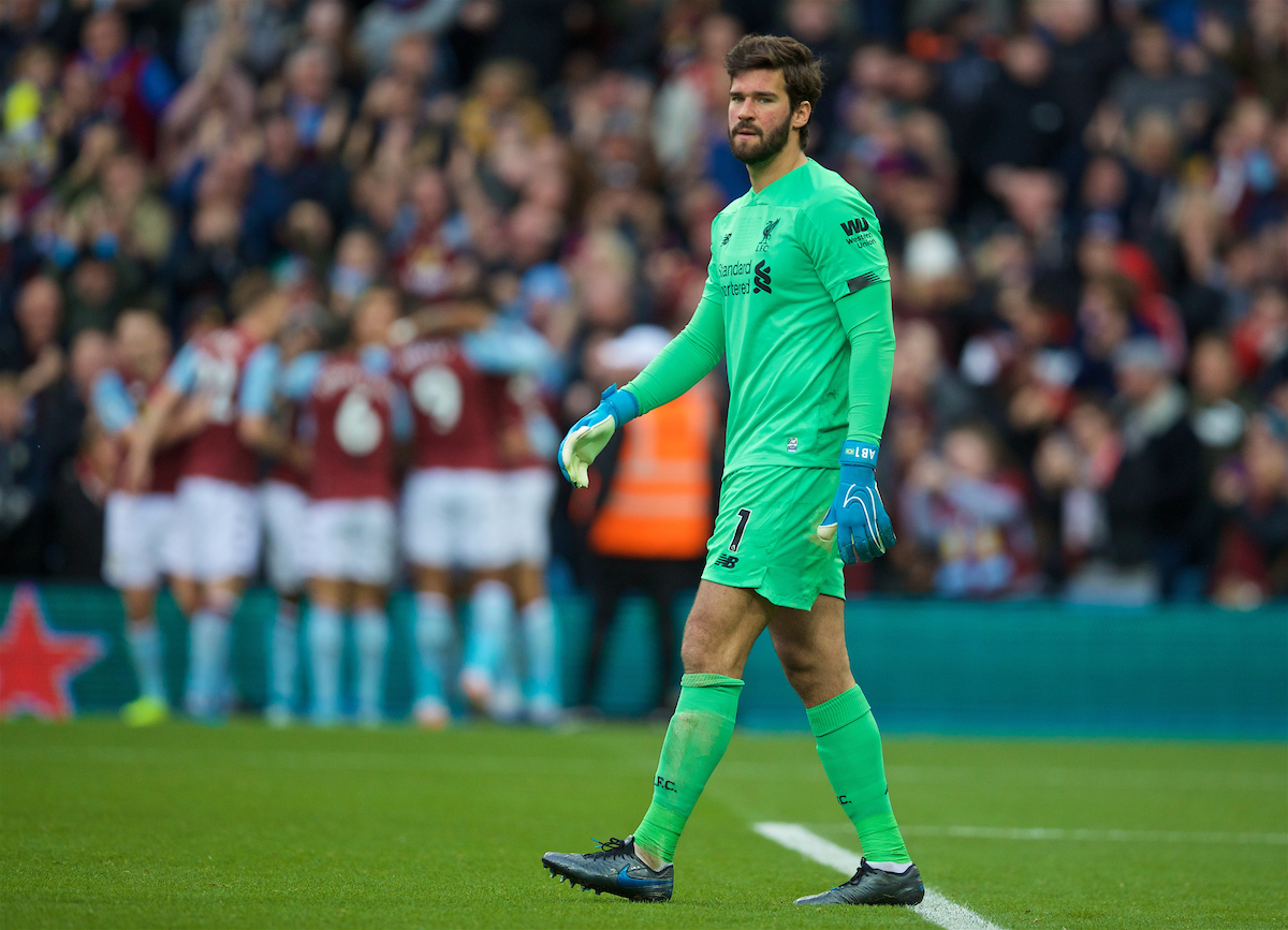 BIRMINGHAM, ENGLAND - Saturday, November 2, 2019: Liverpool's goalkeeper Alisson Becker looks dejected as Aston Villa score the opening goal during the FA Premier League match between Aston Villa FC and Liverpool FC at Villa Park. (Pic by David Rawcliffe/Propaganda)