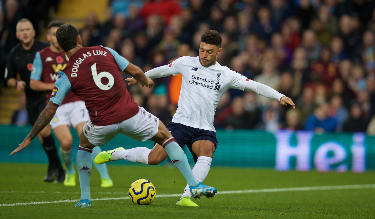 BIRMINGHAM, ENGLAND - Saturday, November 2, 2019: Liverpool's substitute Alex Oxlade-Chamberlain shoots during the FA Premier League match between Aston Villa FC and Liverpool FC at Villa Park. (Pic by David Rawcliffe/Propaganda)
