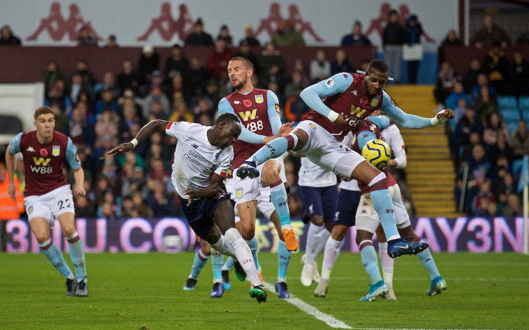 BIRMINGHAM, ENGLAND - Saturday, November 2, 2019: Liverpool's Sadio Mané scores the winning second goal in injury time during the FA Premier League match between Aston Villa FC and Liverpool FC at Villa Park. Liverpool won 2-1. (Pic by David Rawcliffe/Propaganda)