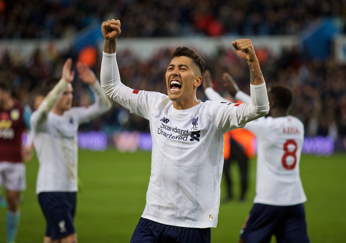 BIRMINGHAM, ENGLAND - Saturday, November 2, 2019: Liverpool's Roberto Firmino celebrates after the FA Premier League match between Aston Villa FC and Liverpool FC at Villa Park. Liverpool won 2-1 with a winning goal in injury time. (Pic by David Rawcliffe/Propaganda)
