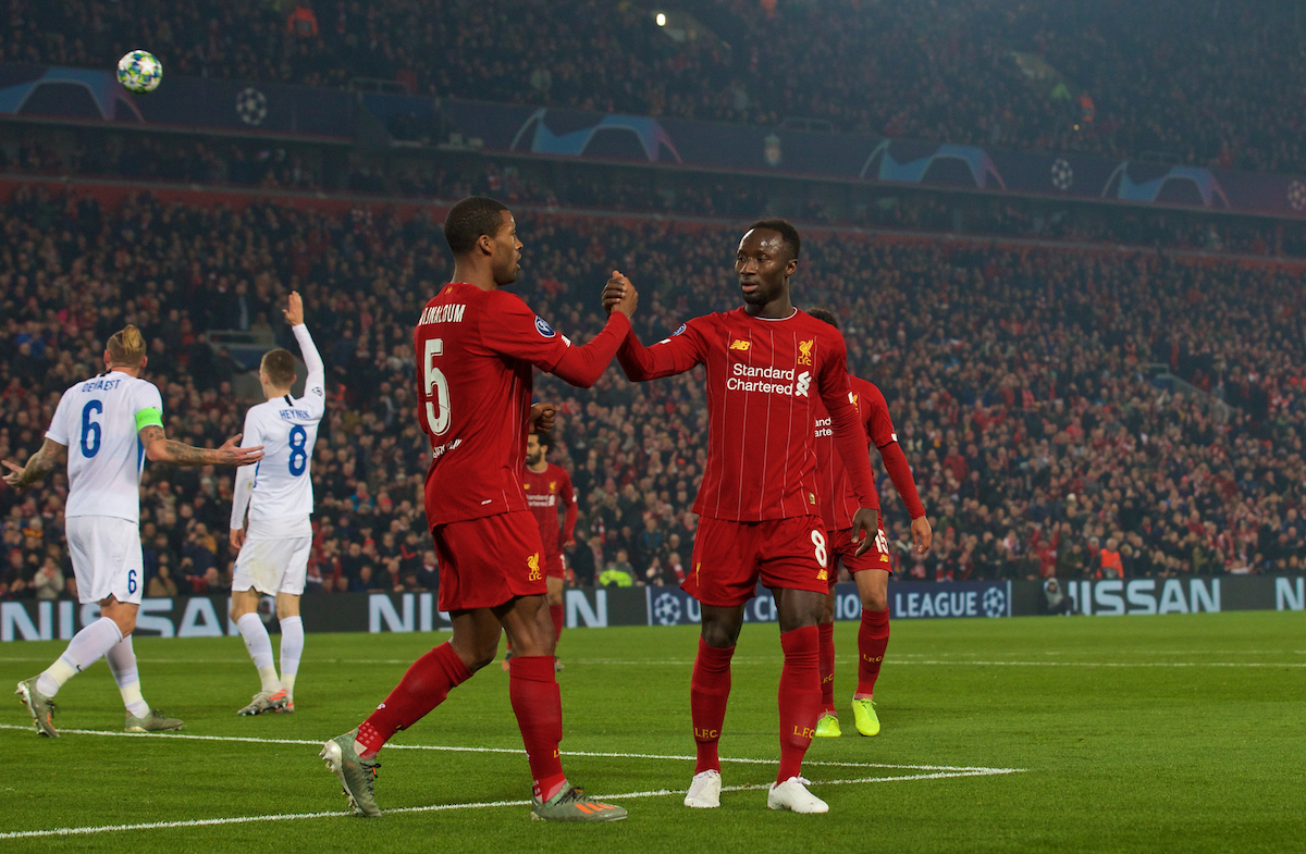 LIVERPOOL, ENGLAND - Tuesday, November 5, 2019: Liverpool's Georginio Wijnaldum (L) celebrates scoring the first goal with team-mate Naby Keita during the UEFA Champions League Group E match between Liverpool FC and KRC Genk at Anfield. (Pic by Laura Malkin/Propaganda)