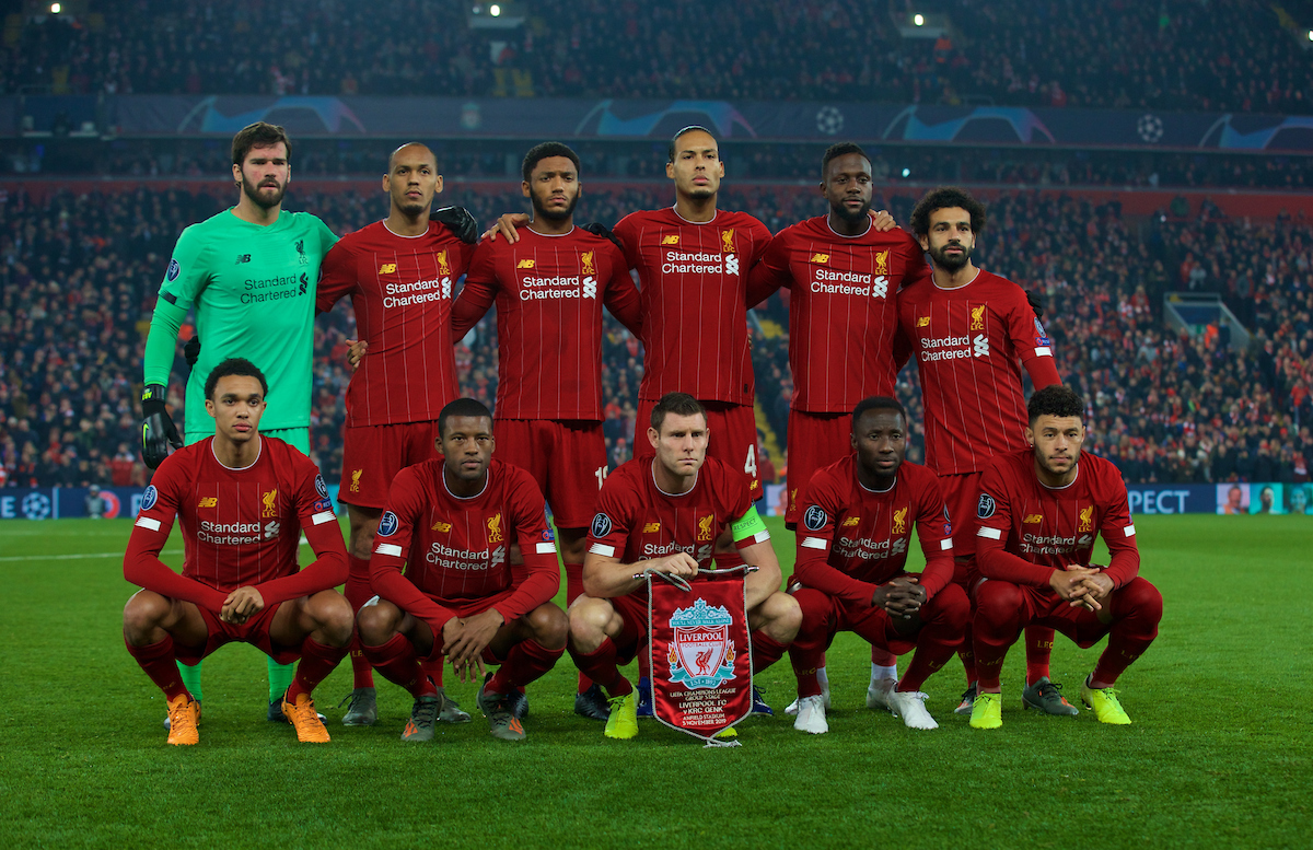 LIVERPOOL, ENGLAND - Tuesday, November 5, 2019: Liverpool's players line-up for a team group photograph before the UEFA Champions League Group E match between Liverpool FC and KRC Genk at Anfield. Back row L-R: goalkeeper Alisson Becker, Fabio Henrique Tavares 'Fabinho', Joe Gomez, Virgil van Dijk, Divock Origi, Mohamed Salah. Front row L-R: Trent Alexander-Arnold, Georgina Wijnaldum, captain James Milner, Naby Keita, Alex Oxlade-Chamberlain. (Pic by Laura Malkin/Propaganda)